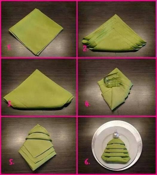 Как сложить салфетку в виде елки своими руками картинки