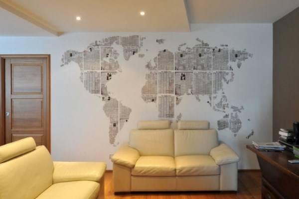 Карта мира на стене своими руками