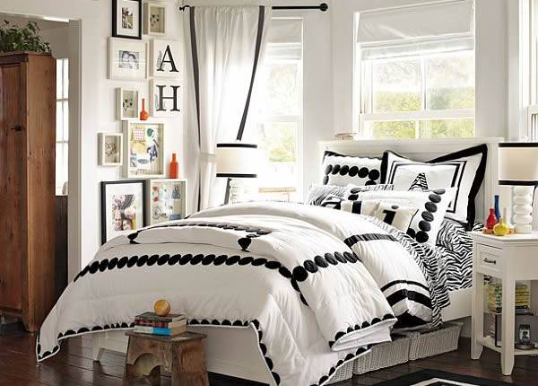 Комната для девочки в черно-белом цвете