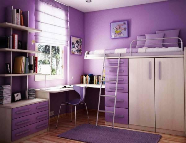 Дизайн детской комнаты в фиолетовом цвете