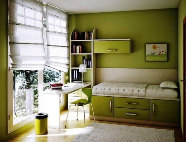 Дизайн детской в зеленом цвете
