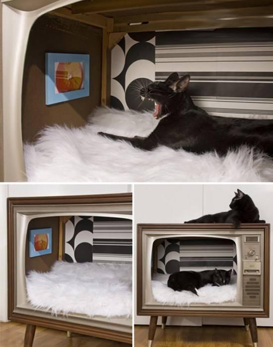 Кошачий домик в старом телевизоре