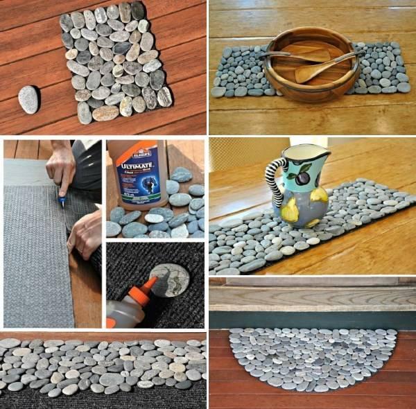 Самодельный коврик в камнями