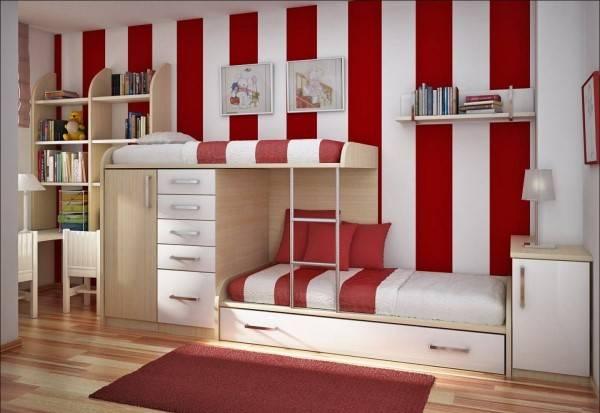 Красно-белая детская для двоих детей