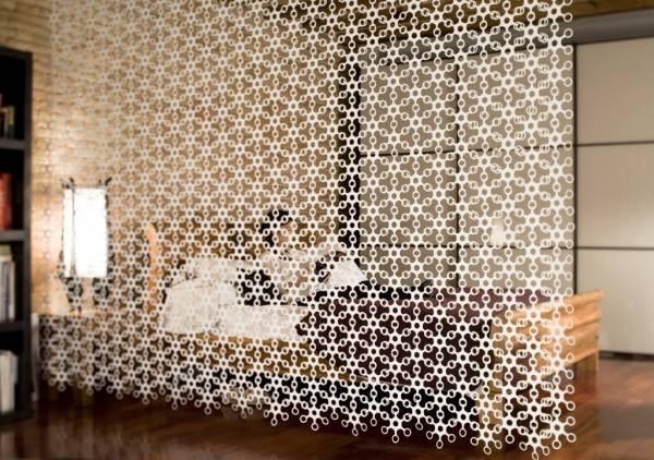 Текстильные перегородки в квартире студии