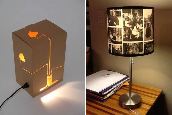 Настольные лампы из картона и фотографий