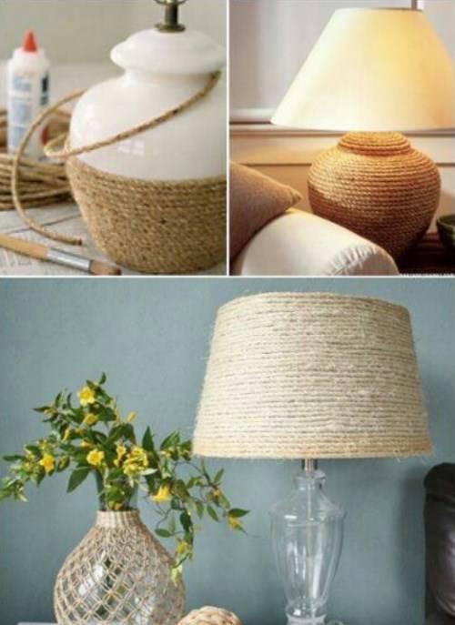 Лампа с декором из шпагата