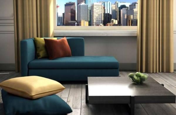 Современный диван в голубом цвете