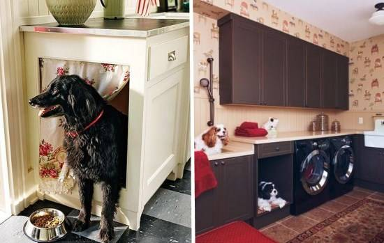 Место для собаки в кухонном шкафчике