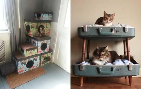 Необычные кошачьи домики своими руками