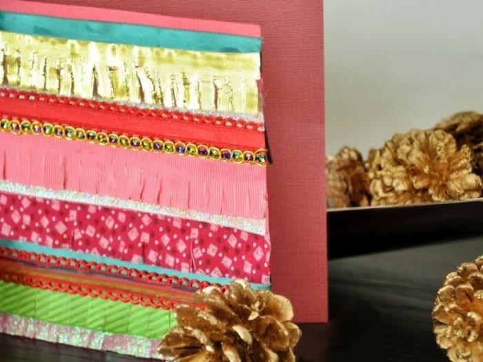 Красочная новогодняя открытка из ткани
