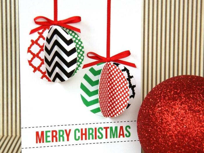 Новогодние открытки своими руками шарики