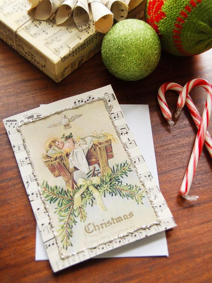 Рождественская открытка под старину