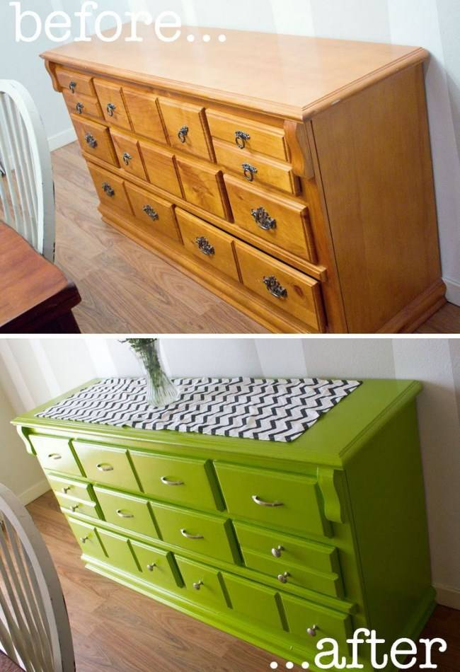 Покраска мебели в зеленый цвет