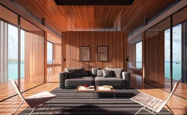 Современный дизайн гостиной с большими окнами