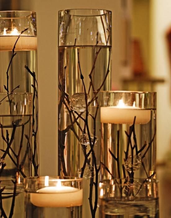 Плавающие свечи в стеклянной посуде