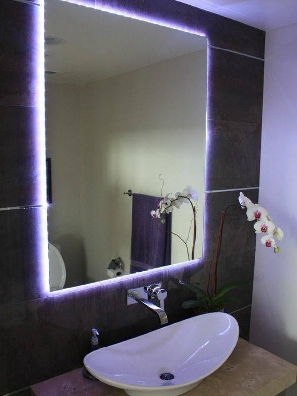 Украшение зеркала светодиодной лентой