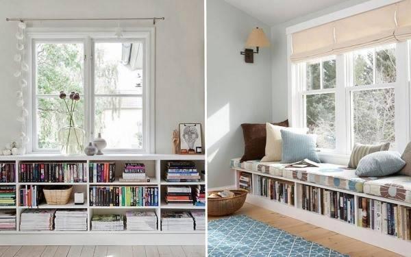 Книжные полки у окна в гостиной