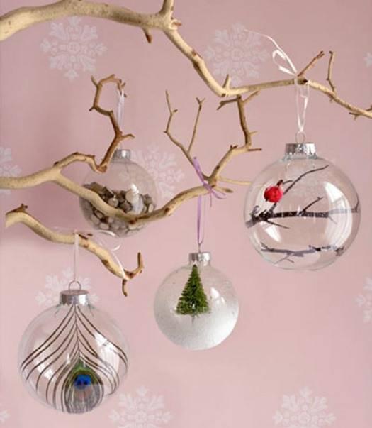Прозрачные новогодние шарики с декором внутри