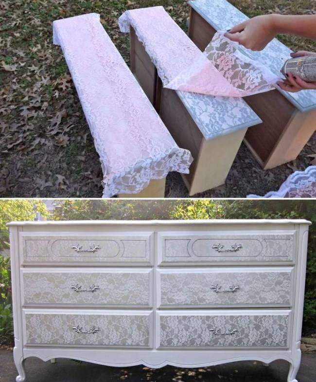 Реставрация мебели с применением ткани