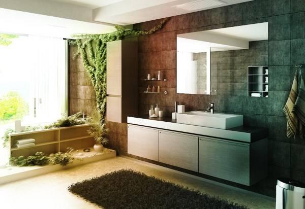 Эко дизайн большой ванной комнаты