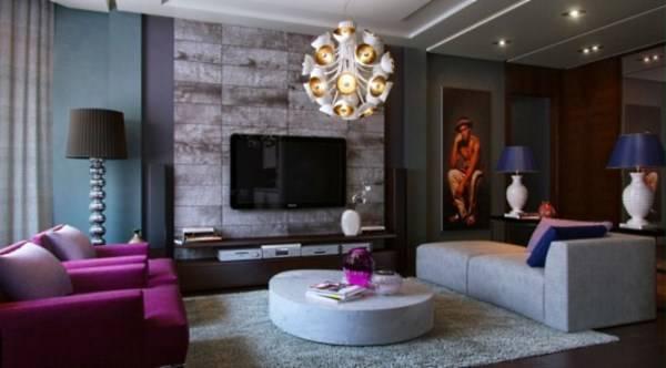 Дизайн модной гостиной в ярких тонах