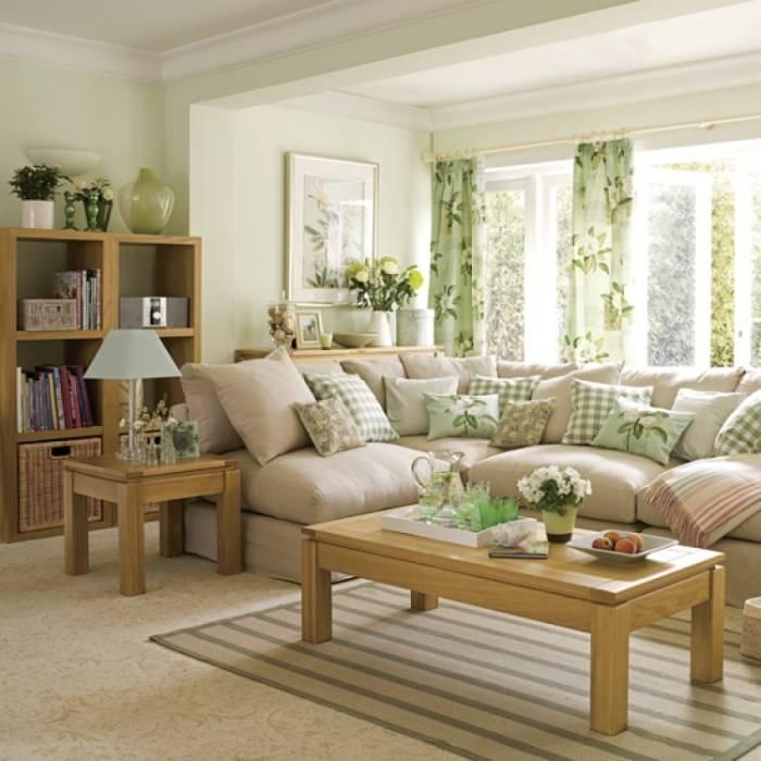 Освежающий дизайн гостиной с зелеными тонами