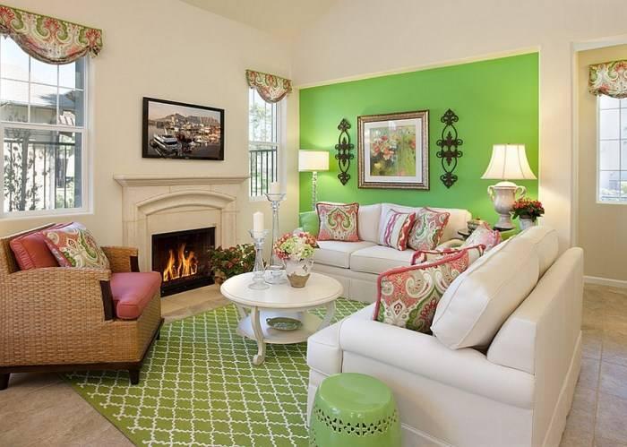 Сочетание зеленого и красного в дизайне интерьера