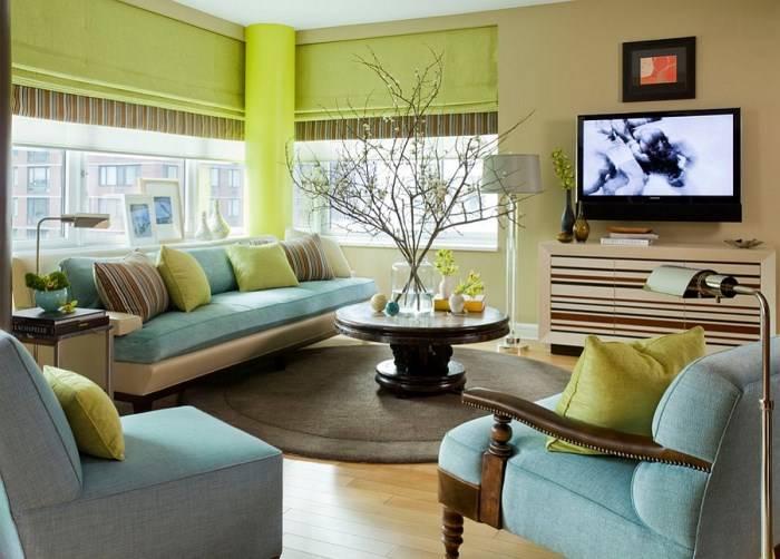 Зеленый и синий цвет в гостиной