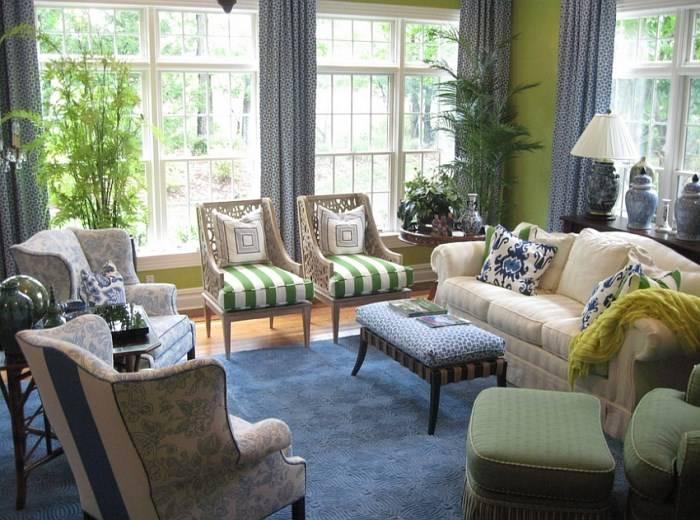 Дизайн гостиной в зеленом и синем цвете