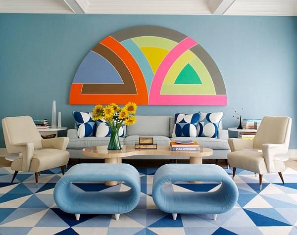 Ретро гостиная в синем цвете