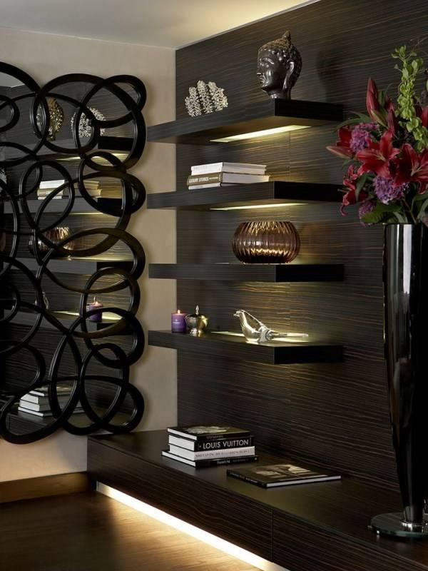 Стильная подсветка черной мебели