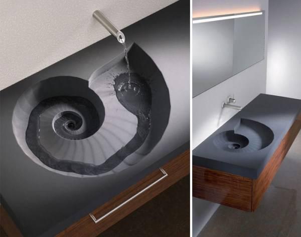 Уникальная раковина с краном из стены