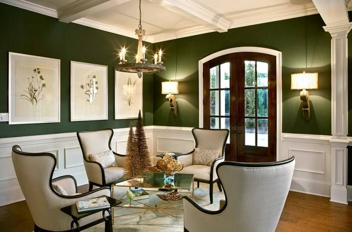 Дизайн гостиной в зеленом и белом цвете