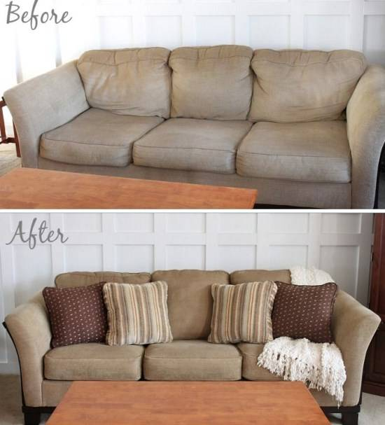 Украшение дивана подушками