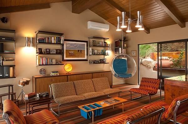 Уютная гостиная в ретро стиле
