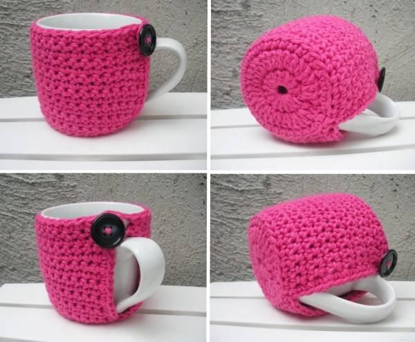 Вязаный чехол для чашки чая