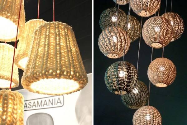 Подвесные вязаные лампы