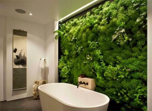 Зеленая стена в дизайне ванной