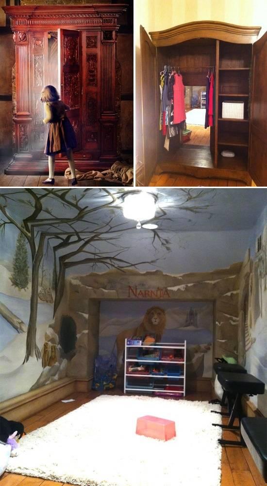 Вход в детскую комнату через шкаф как в Нарнию