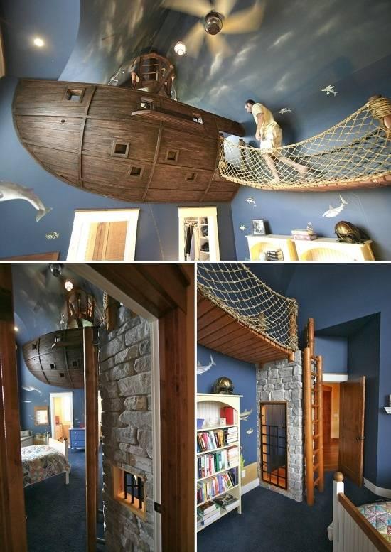 Детская комната с кораблем у потолка
