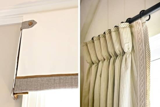Украшение штор с пуговицами и лентами