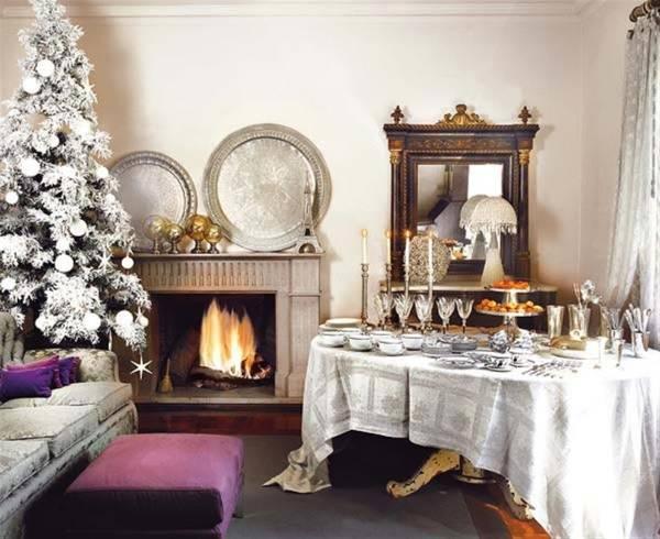 Красивое оформление комнаты на Новый год