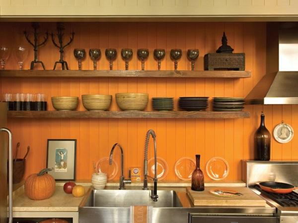 Дизайн кухни с оранжевыми стенами