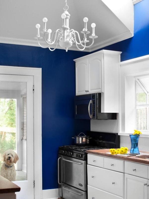 Кухня с ярко-синими стенами