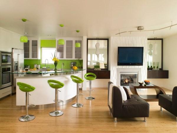 Кухня с зелеными акцентами