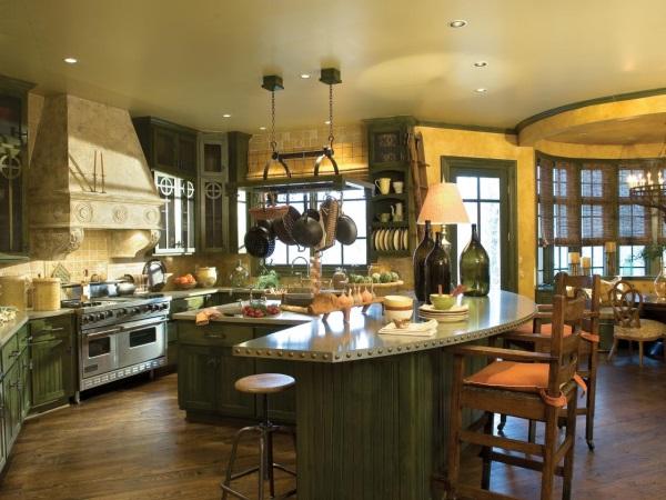 Желто-зеленая кухня в стиле кантри
