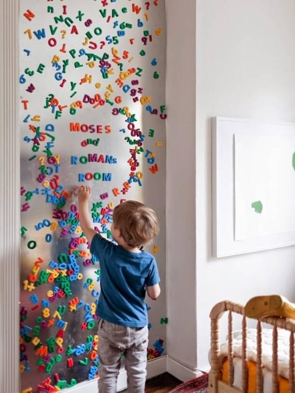 Необычное оформление стены в детской