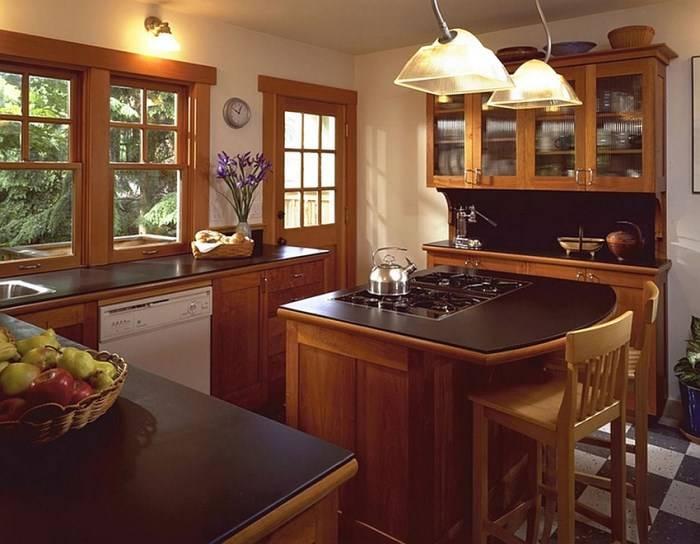 Барная стойка и плита на кухонном острове