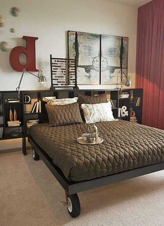 Необычный дизайн спальни со стильными полками